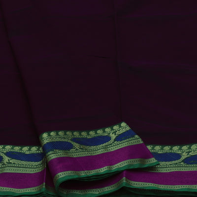 Mercerised Cotton Saree Dark Brown with Mango Border