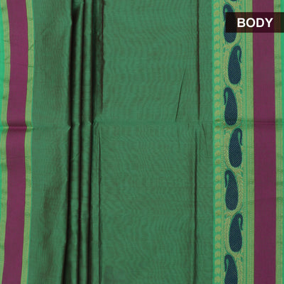 Mercerised Cotton Saree Fern Green with Mango Border