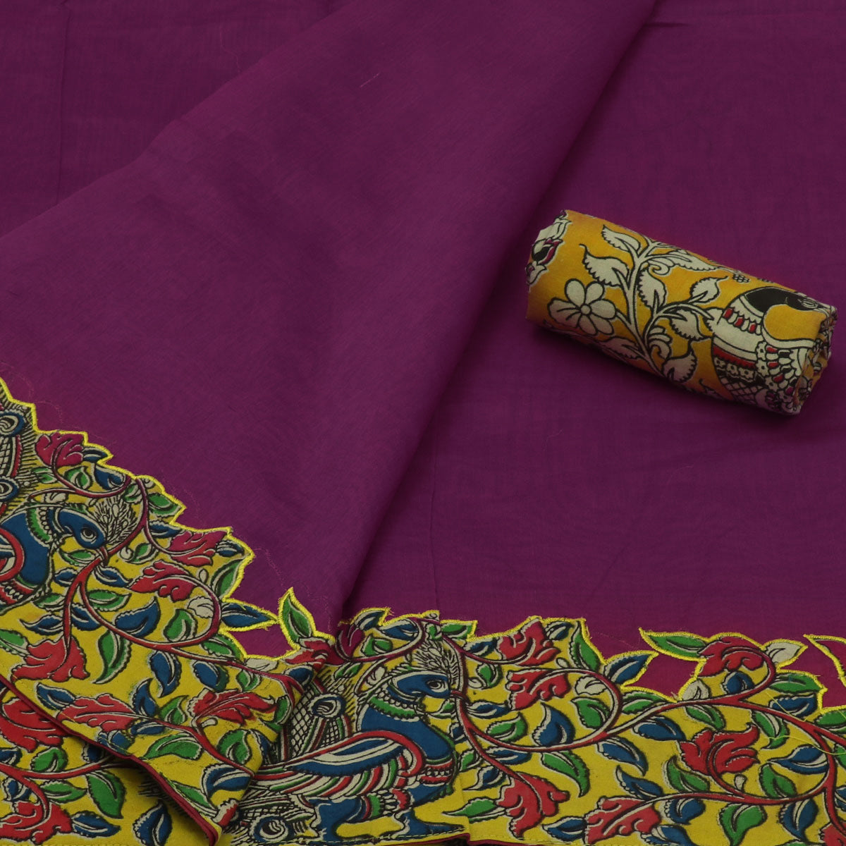 Kalamkari Saree Violet with kalamkari applique work