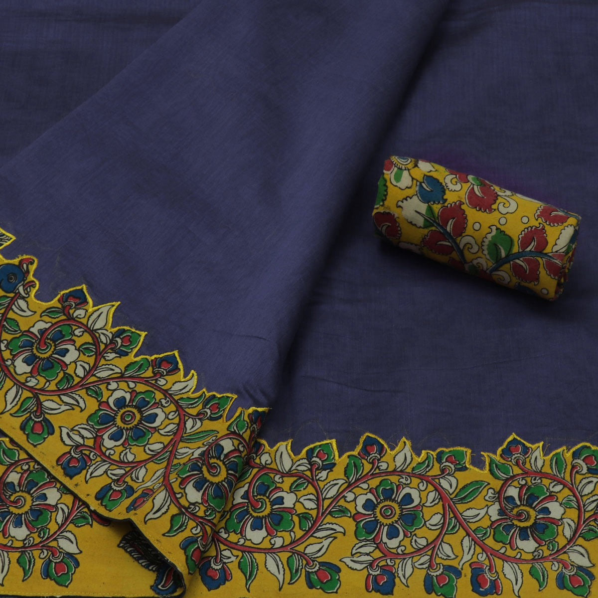 Kalamkari Saree Blue shade with kalamkari applique work