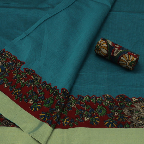 Kalamkari Saree Teal Blue with kalamkari applique work