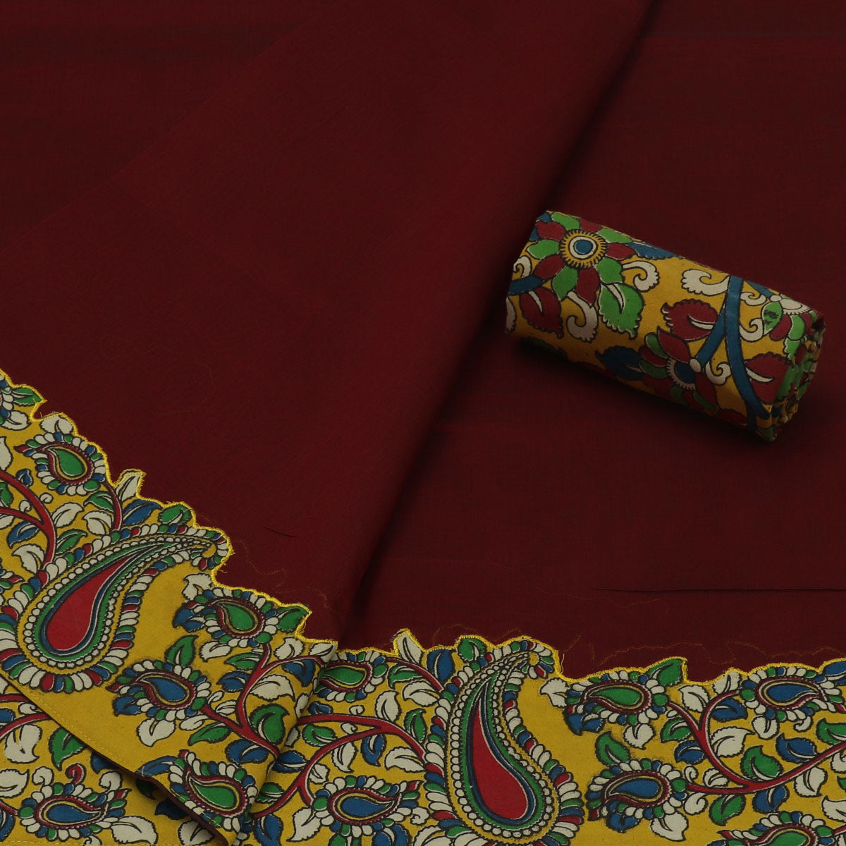 Kalamkari Saree Maroon with kalamkari applique work