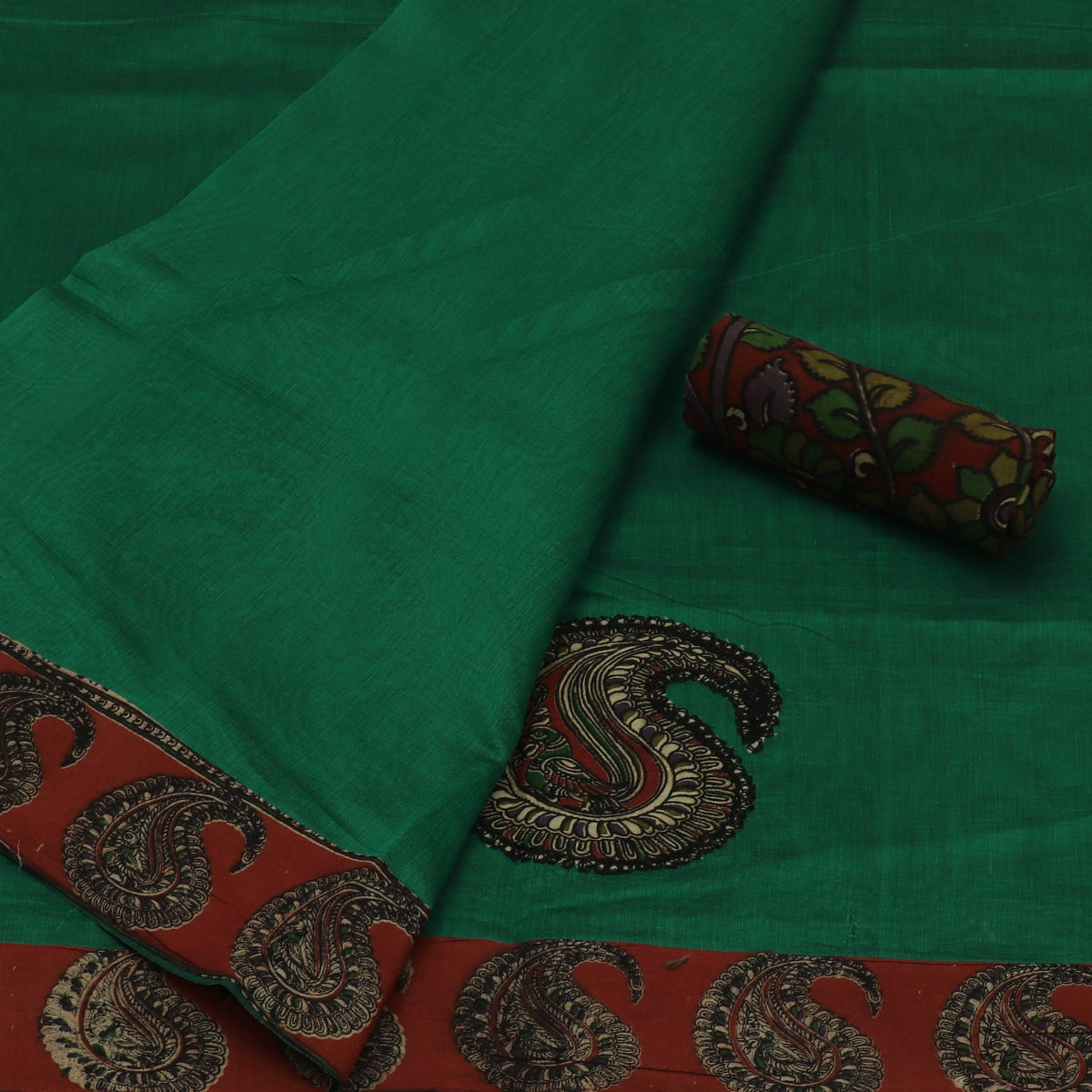 Kalamkari Saree Green with kalamkari applique work
