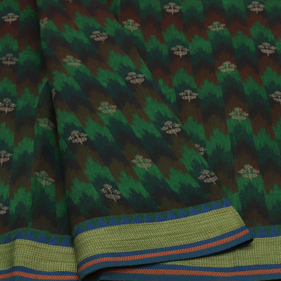 Chanderi Cotton Saree Green shade with Ikkat Design and Temple Thread border