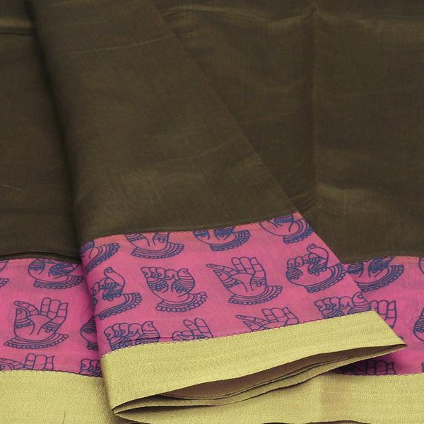 Mercerised Cotton Saree Moss Green and Pink Shade with Zari Border