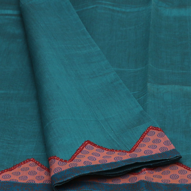 Mercerised Cotton Saree Teal Blue with Applique Work