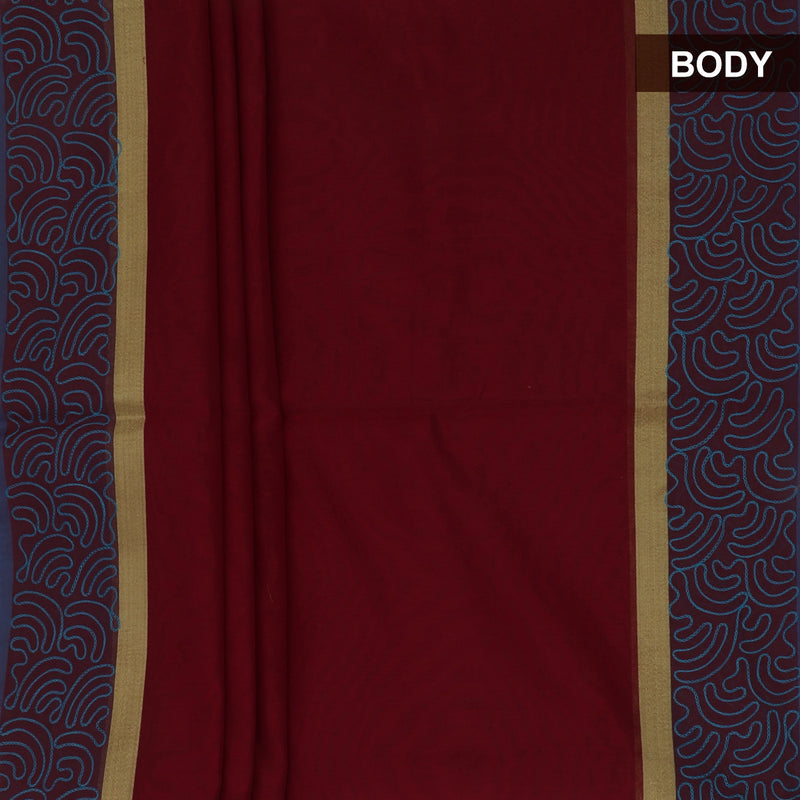 Mercerised Cotton Saree Maroon with Aari Work
