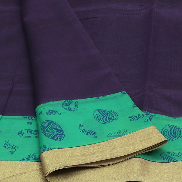 Mercerised Cotton Saree Dark Purple and Sea Green with Zari Border
