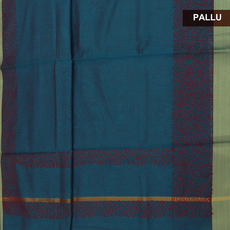 Mercerised Cotton Saree Teal Blue with Aari Work