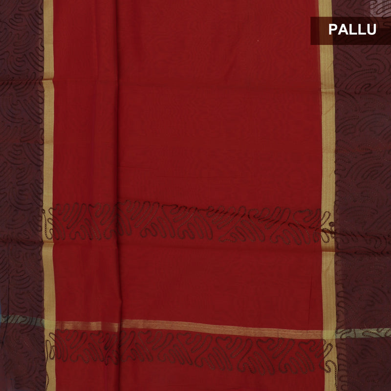 Mercerised Cotton Saree Red with Aari Work