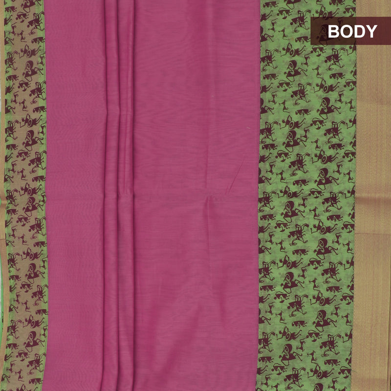 Mercerised Cotton Saree Light Pink and Pista Green with Zari Border