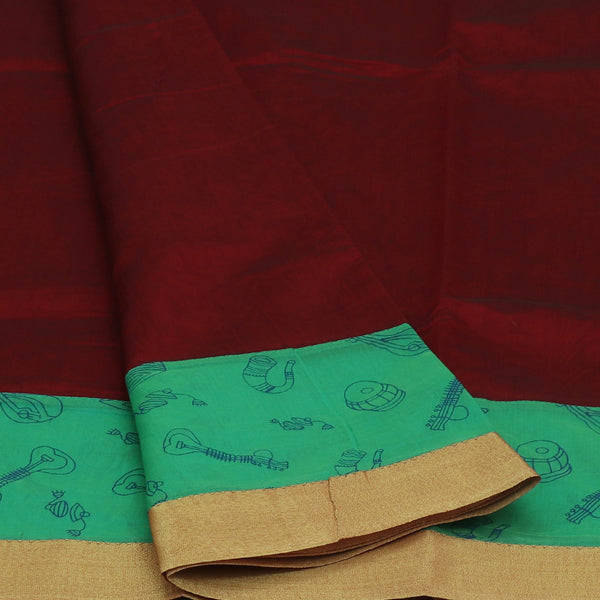Mercerised Cotton Saree Dark Maroon and Green Shade with Zari Border