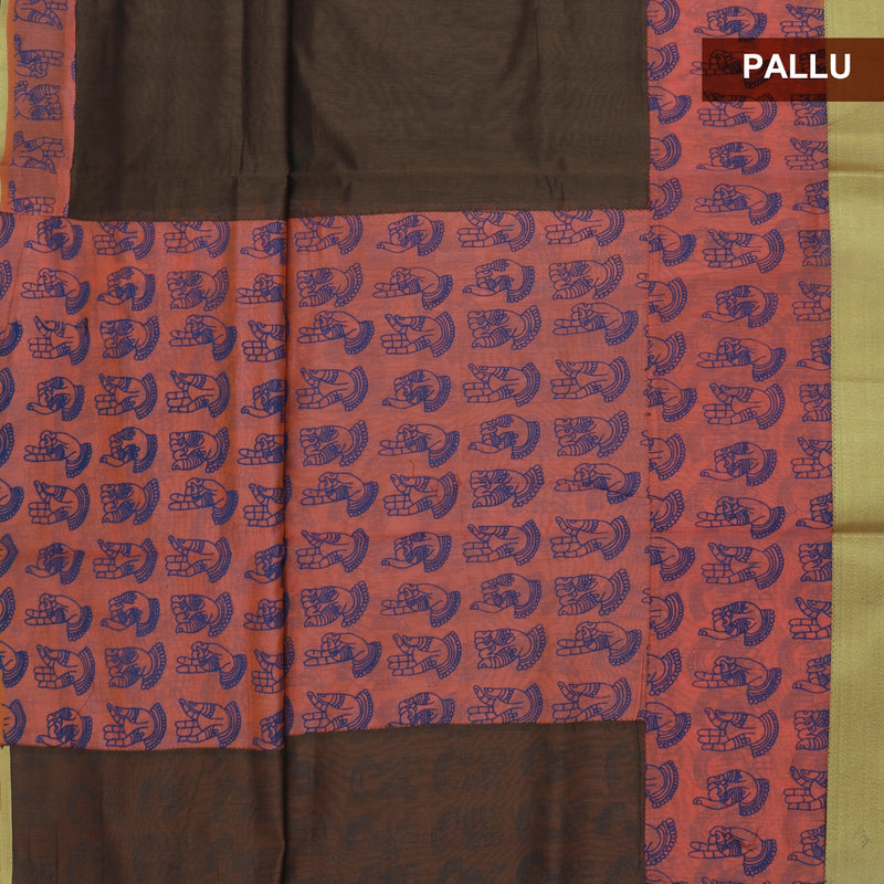Mercerised Cotton Saree Brown and Peach with Zari Border
