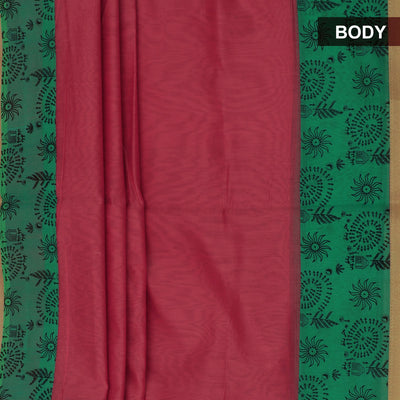 Mercerised Cotton Saree Peach Shade and Green with Zari Border