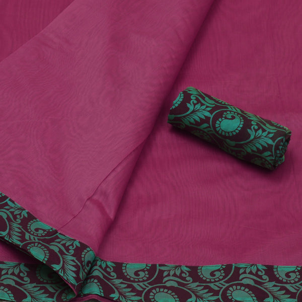 Mercerised Cotton Saree light Pink with Patch Work