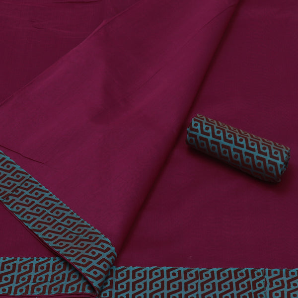 Mercerised Cotton Saree Dark Pink with Patch Work