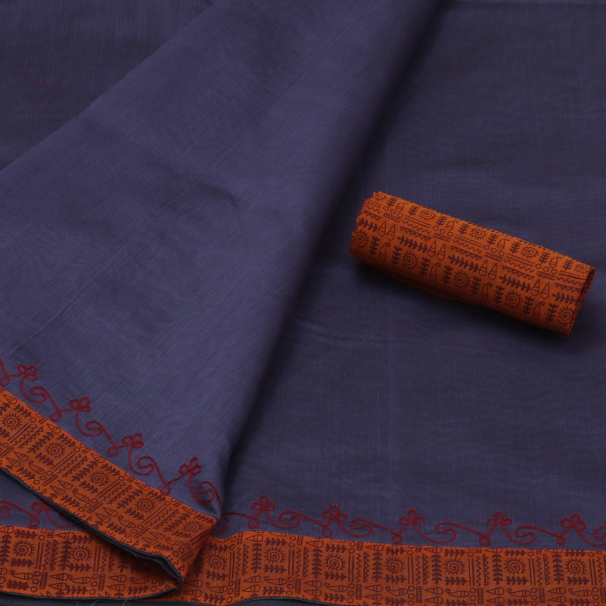 Mercerised Cotton Saree Purple with Embroidery and Patch Work