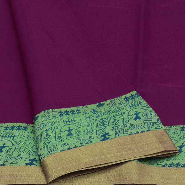 Mercerised Cotton Saree Dark Pink and Pista Green with Zari Border