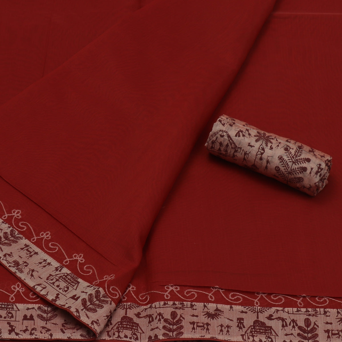 Mercerised Cotton Saree Maroon with Embroidery and Patch Work