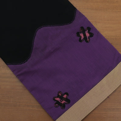 Mercerised Cotton Saree Black and Purple with Applique Work and Zari border