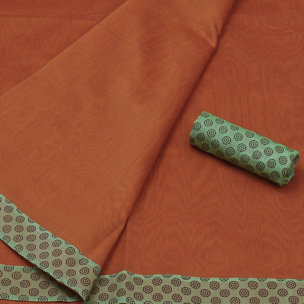 Mercerised Cotton Saree Orange and light Green with Patch Work for Rs.Rs. 1390.00 | Cotton Sarees Sarees by Prashanti Sarees
