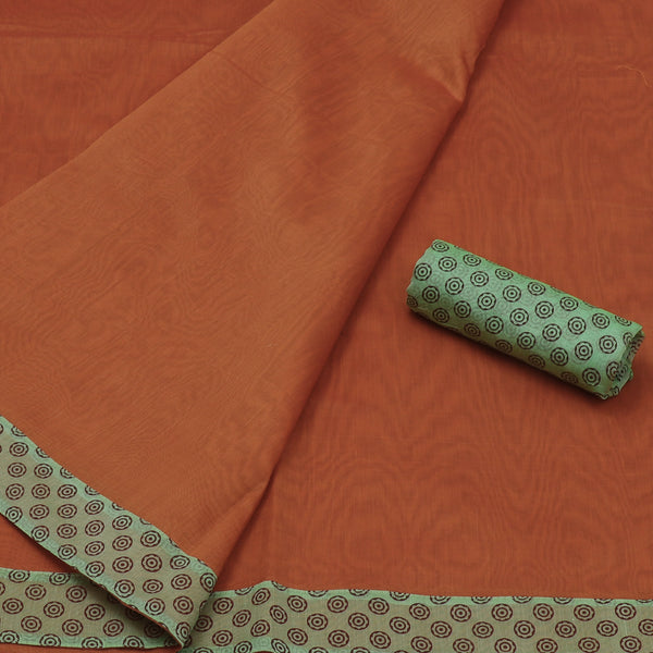Mercerised Cotton Saree Orange and light Green with Patch Work