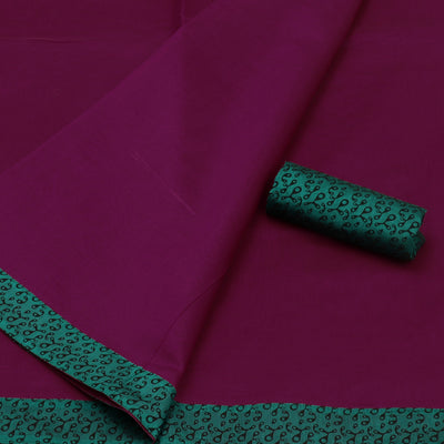 Mercerised Cotton Saree Violet and Dark Green with Patch Work