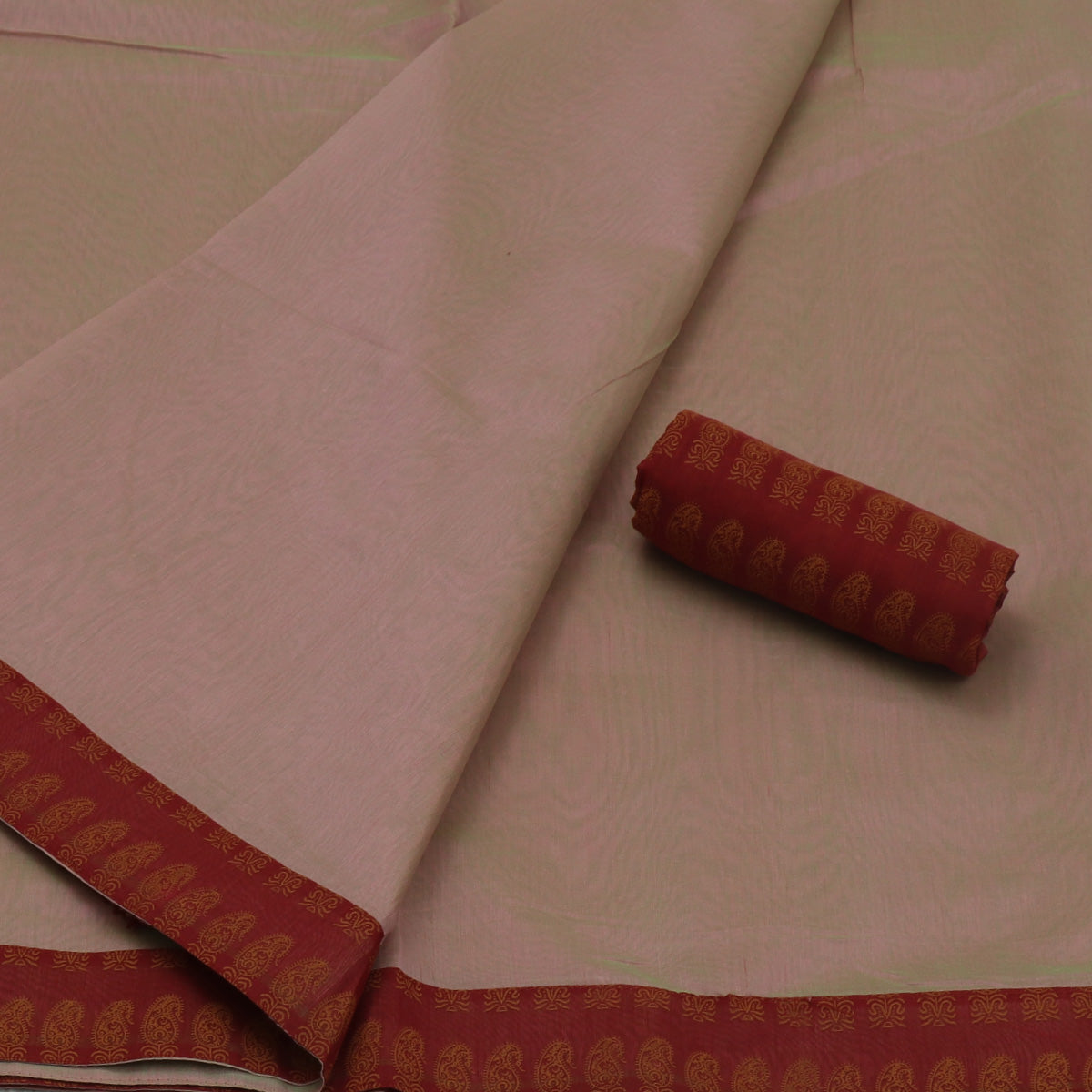 Mercerised Cotton Saree Onion Color and Maroon with Patch Work