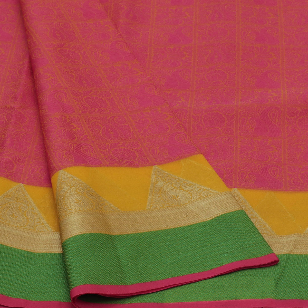 Banarasi Kora Muslin Saree Pink and Light Green with Temple Zari border