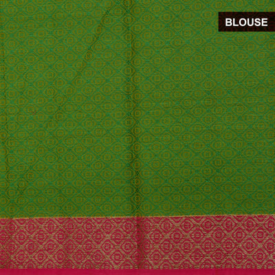 Banarasi Kora Muslin Saree Green and Pink with Floral Zari border