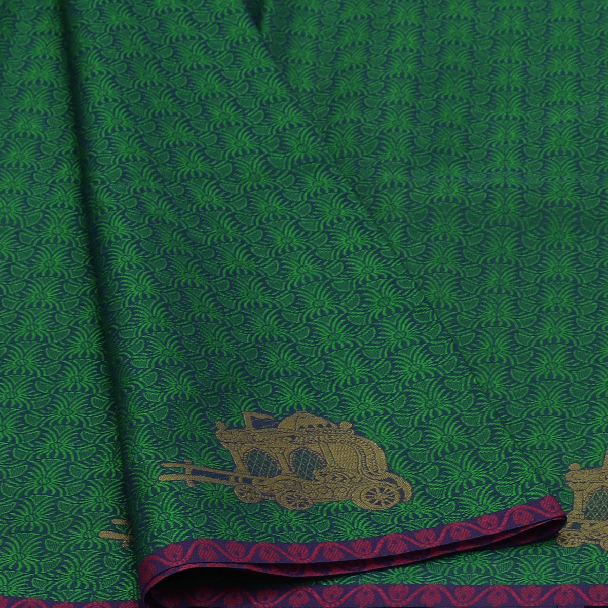 Banarasi Kora Muslin Saree Green and Blue with Simple border