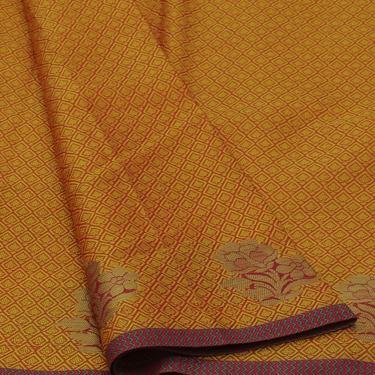 Banarasi Kora Muslin Saree Yellow with Flower Zari Border for Rs.Rs. 1250.00 | Banarasi Sarees by Prashanti Sarees