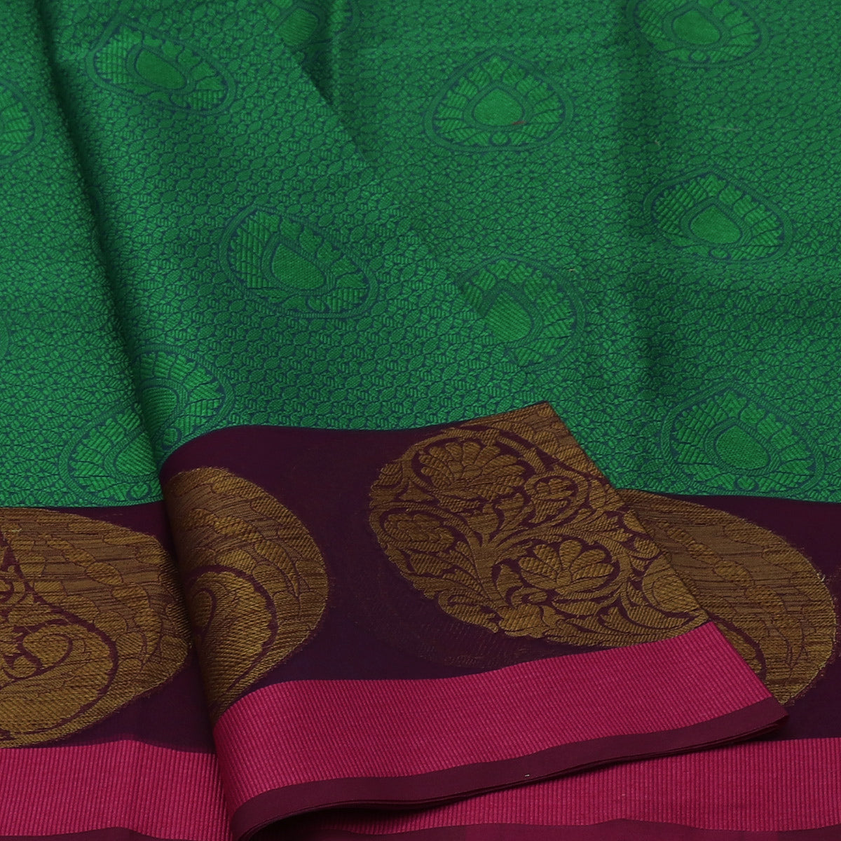 Banarasi Kora Muslin Saree Green and Violet with Round Mango Zari Border