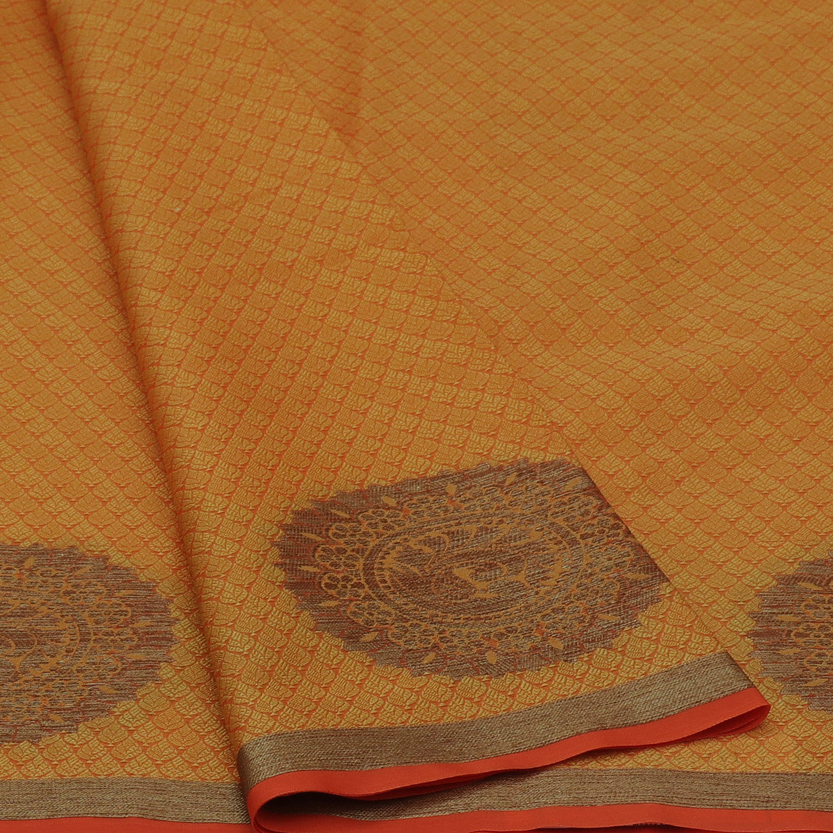 Banarasi Kora Muslin Saree Yellow and Orange with Round Zari Border