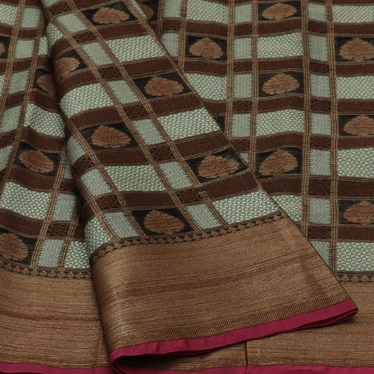 Banarasi Kora Muslin Saree Half White Brown with Zari Border