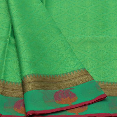 Banarasi Kora Muslin Saree Light Green and Pink with Temple Zari Border