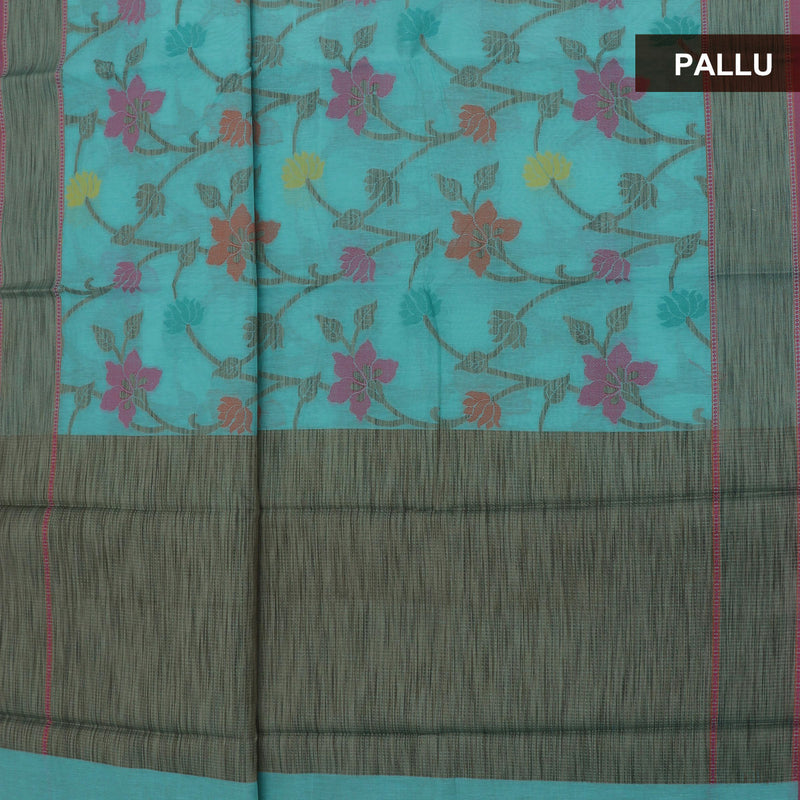 Patola Cotton Saree Sky Blue with Thread Floral and Simple border