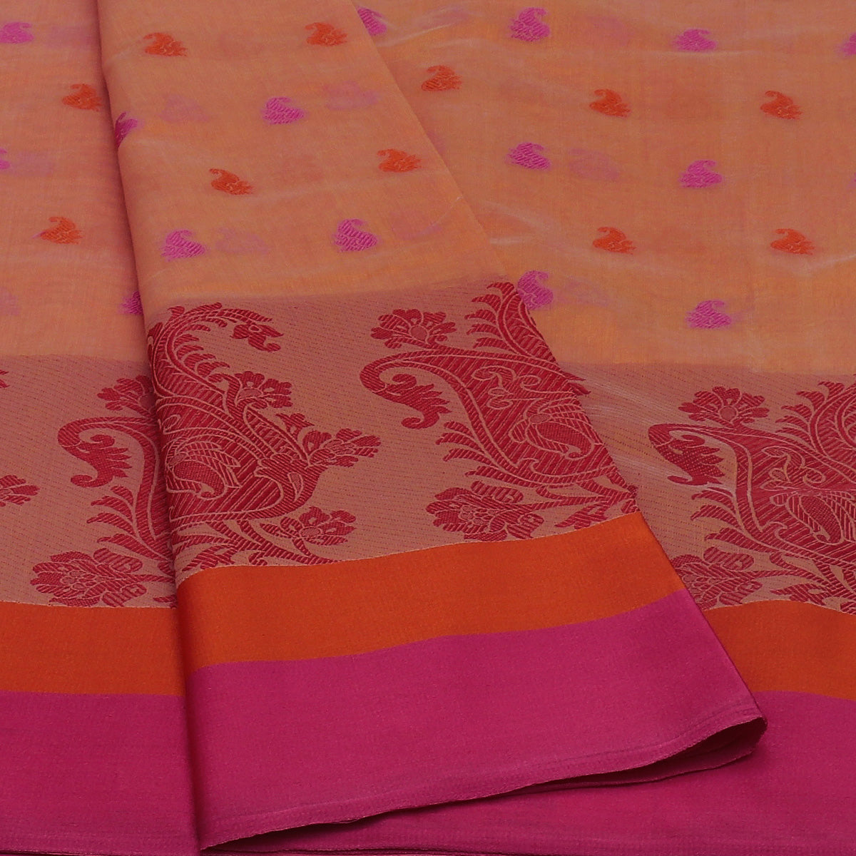Chanderi Cotton Saree Orange withThread Butta and Floral Thread border