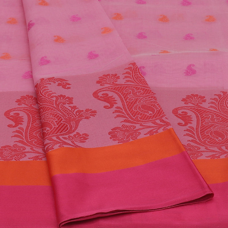 Chanderi Cotton Saree Pink withThread Butta and Floral Thread border