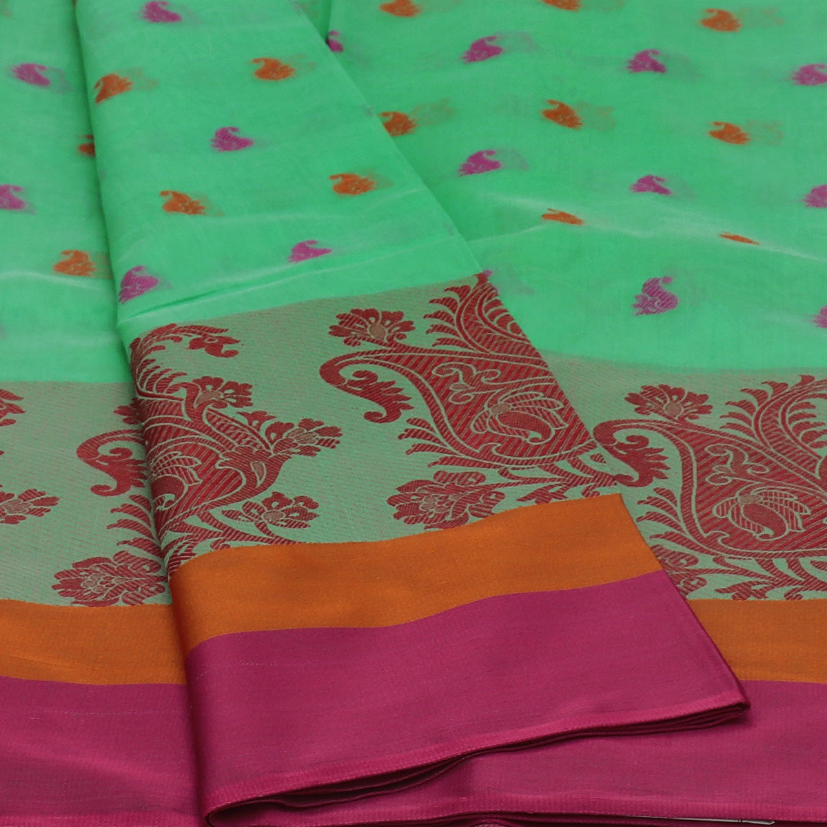 Chanderi Cotton Saree Light Green withThread Butta and Floral Thread border