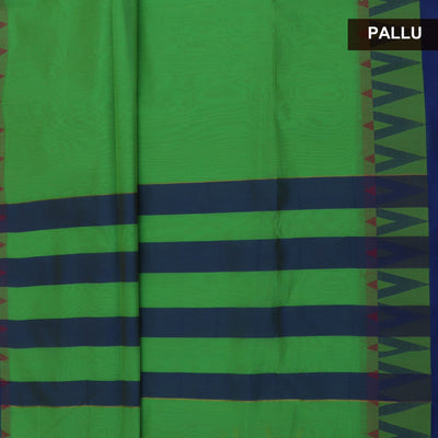 Mercerised Cotton saree Parrot Green and Blue with temple border