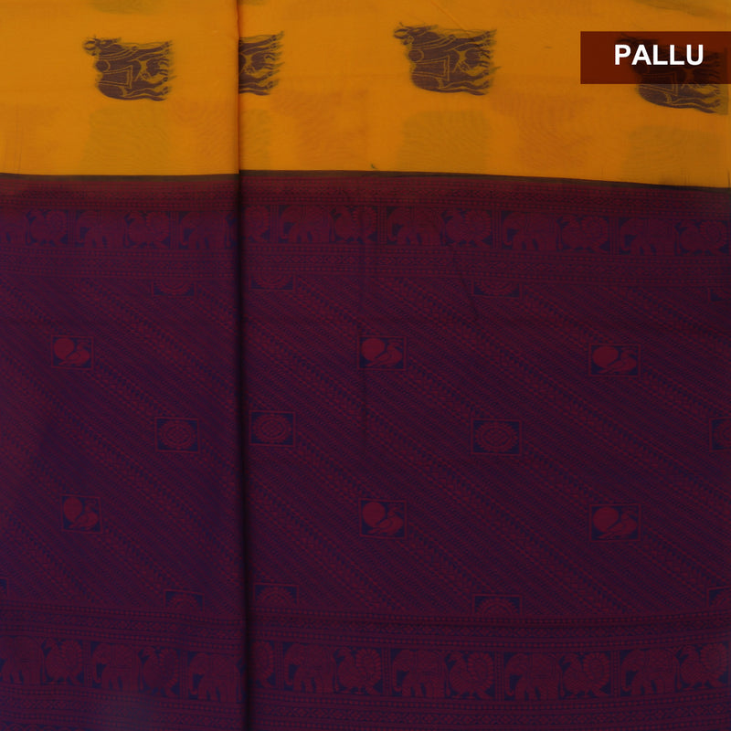 Kora silk saree Yellow and Blue with Horse design