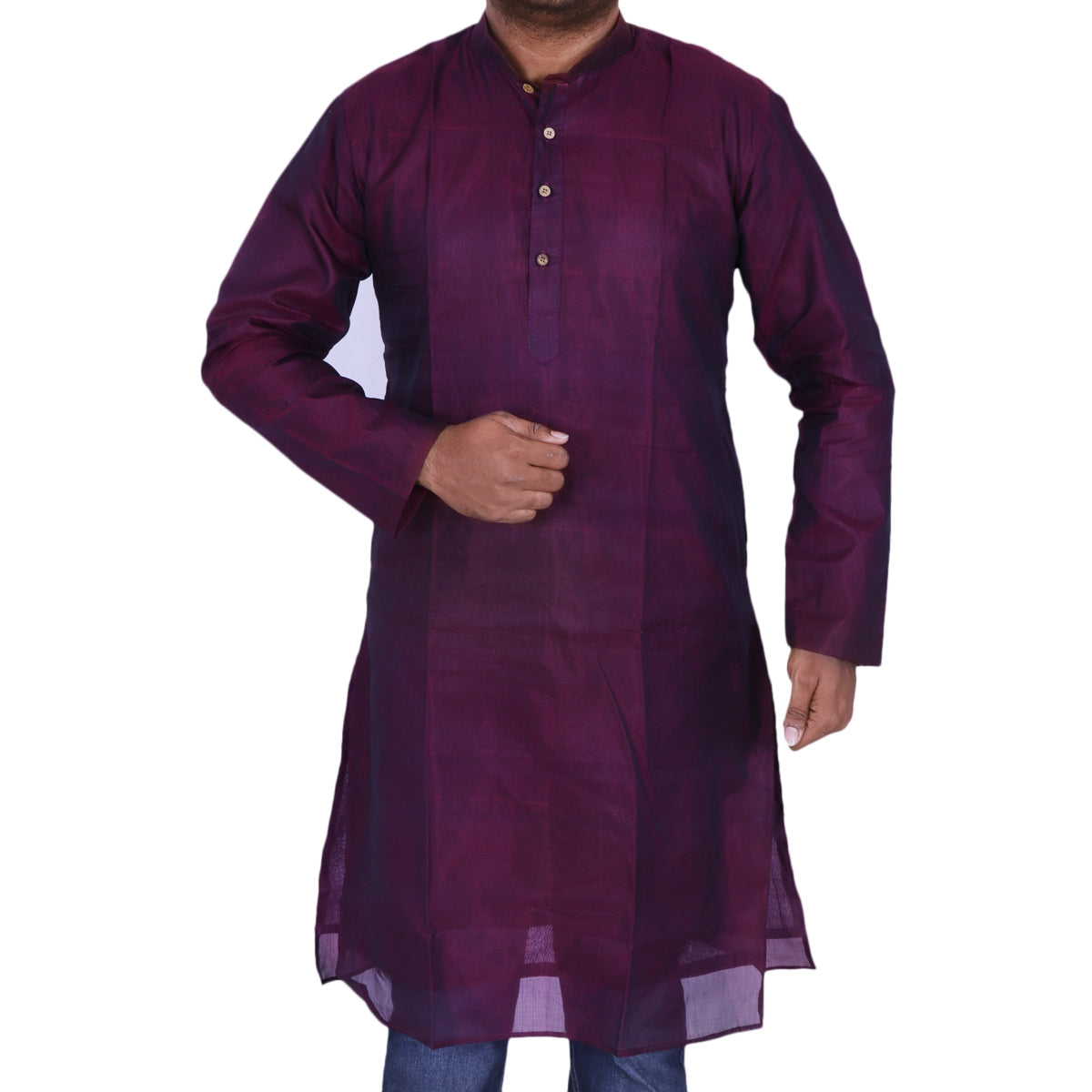 Mens Long Silk Cotton Kurta Magenta for Rs.Rs. 2150.00 | Mens Kurta by Prashanti Sarees