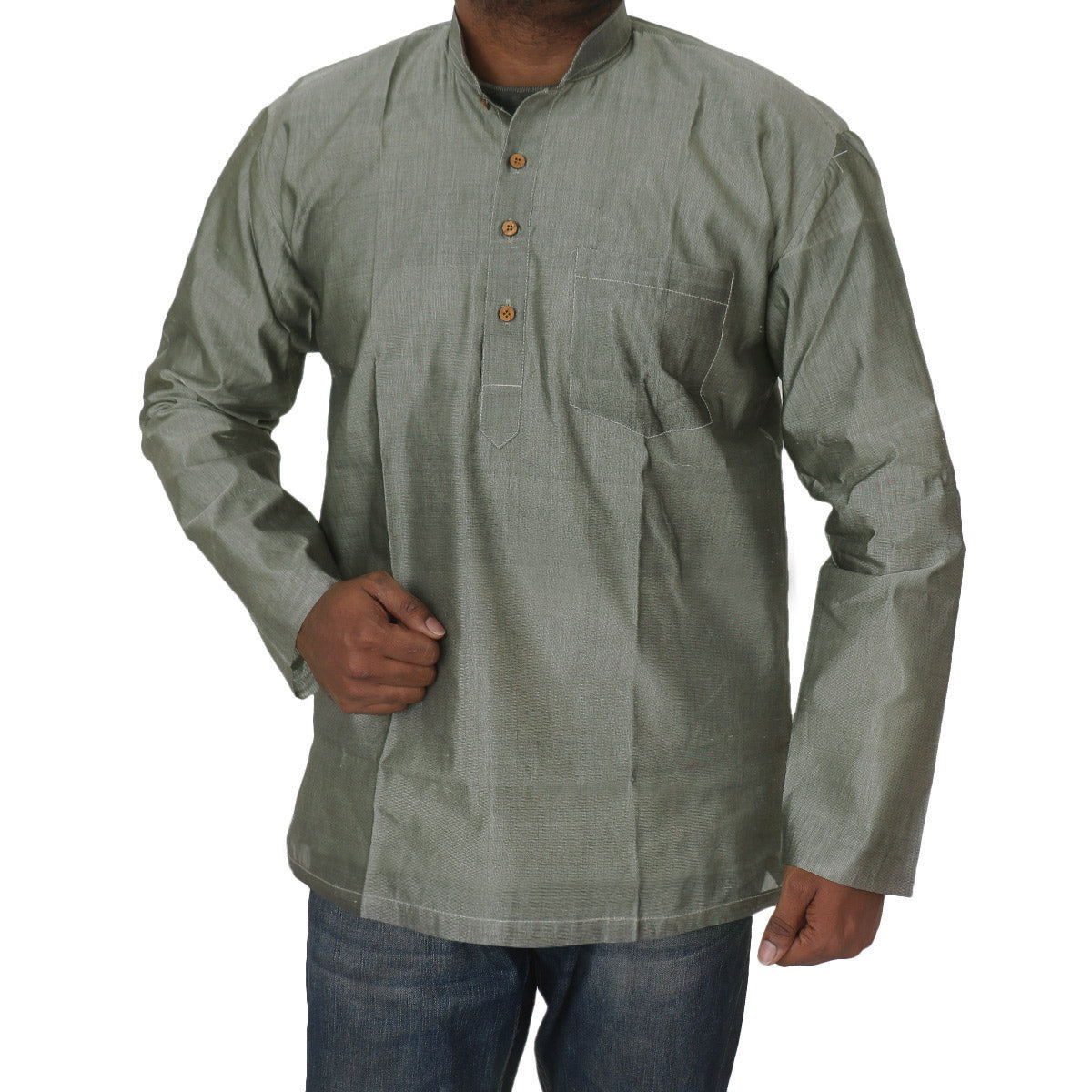 Mens Short Silk Cotton Kurta Grey