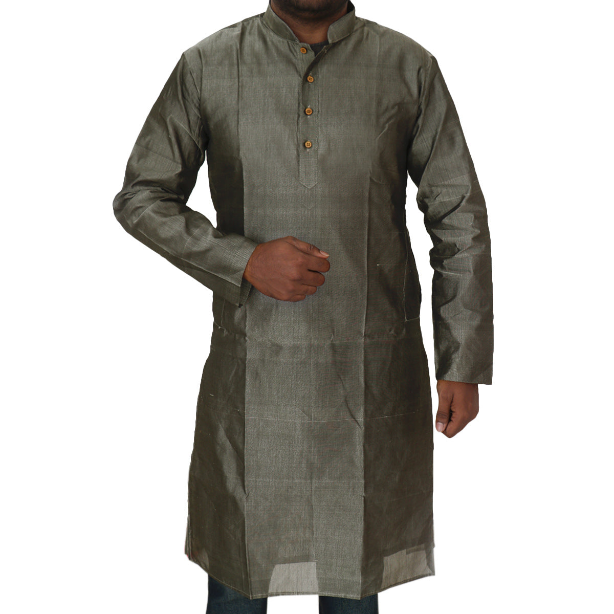 Mens Long Silk Cotton Kurta Grey