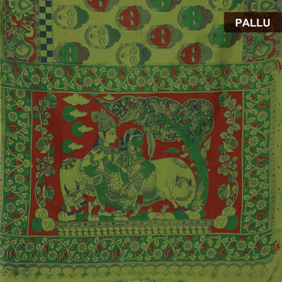 Blended Cotton Saree Green with kalamkari print