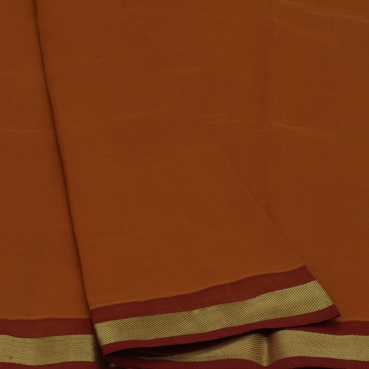 Poly Cotton Saree Dark Mustard and maroon with Zari border