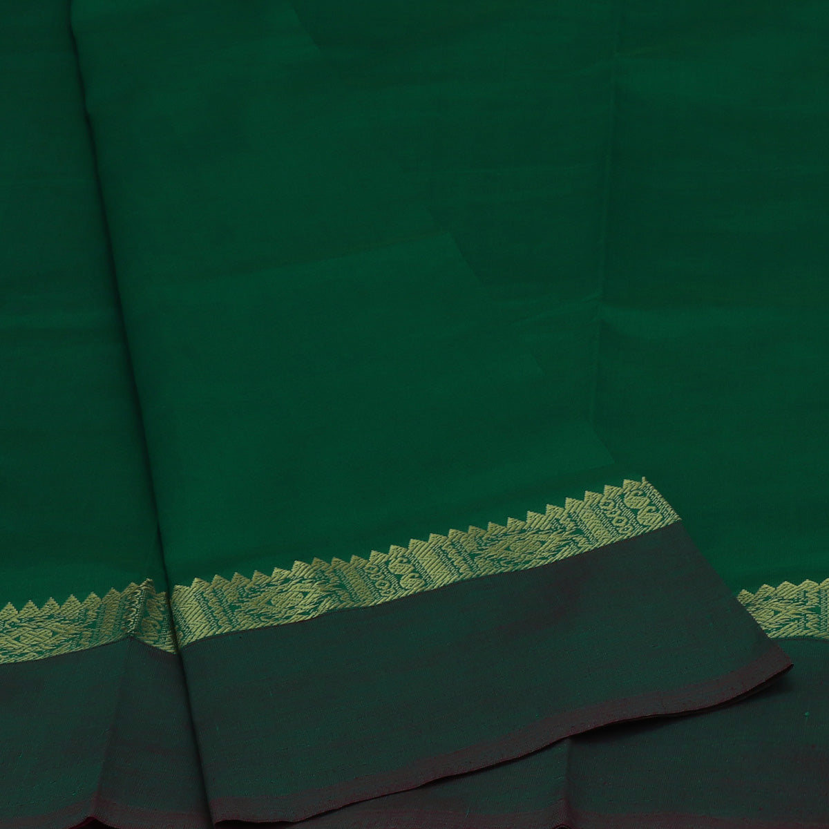 Poly Cotton Saree Green and Pink with Rudraksha Zari border