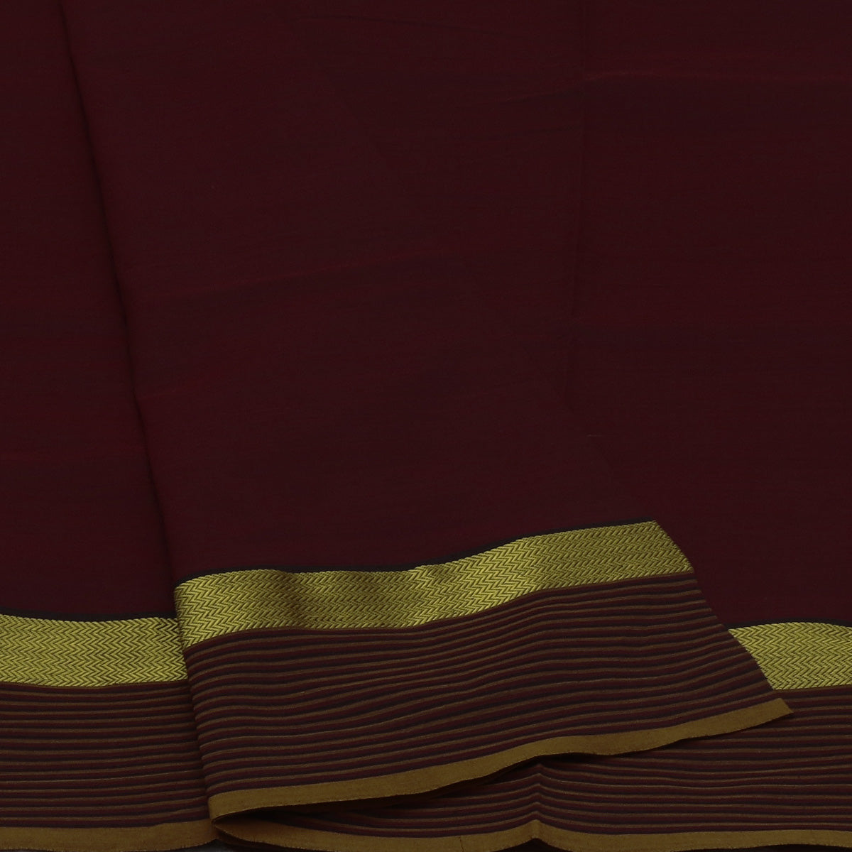 Poly Cotton Saree Brown with Wave Zari border