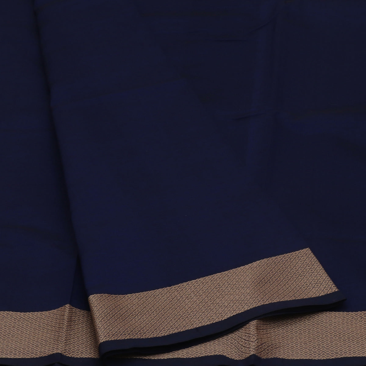Poly Cotton Saree Blue and Brown with Thread border